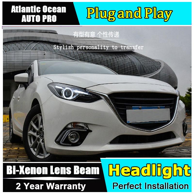 стайлинга автомобилей для Mazda 3 Axela фары глаза ангела для Mazda 3 Axela 2014 Би-ксенона двойной спрятанный набор объектив