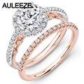 U-Pave Moissanites Wedding Sets Joyería Fina 14 K de Dos Tonos Oro anillos Único Laboratorio Crecido Anillo de Diamante Art Deco Anillo de Bodas conjunto