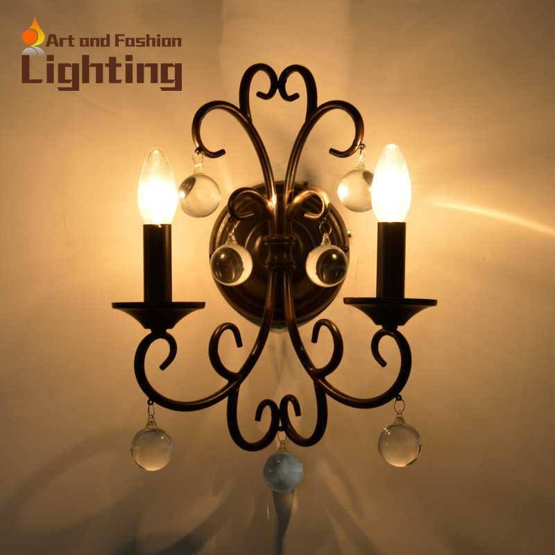 crystal and iron decorative wall sconce flower shape lights classical candle wall lights for corridor