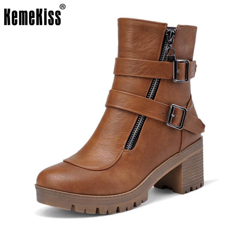 KemeKiss Size 34-43 Sexy Women Ankle High Heel Boots Zipper Winter Shoes Women Metal Buckle Thick Heel Boots Warm Short Botas стоимость