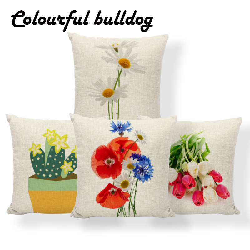 Tulips Poppy Crocus Cushion Cover Linden Flower Lily Daisies Pillowcase Home Nap Mat Decoration Pillow With Cover 45Cm Polyester