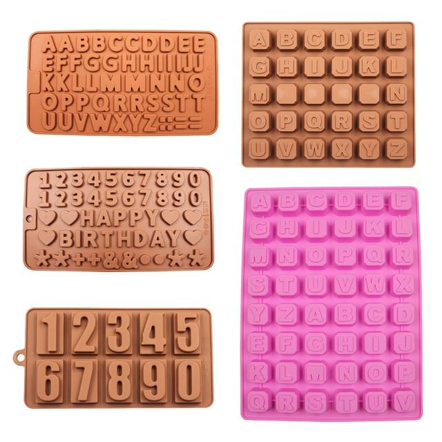 Буквы и цифры силиконовой шоколадная форма Ice Cube Плесень торт украшая инструменты желе формы