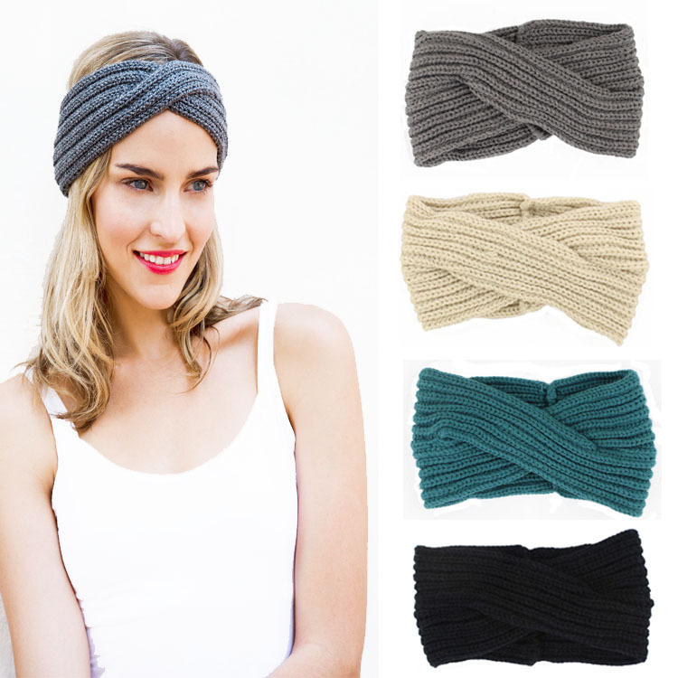 2016 Women Cross Head Wrap Ear Warmer Hair Accessories Hair Band Girl Knitted Headband Winter Warm Twist Crochet Headwear