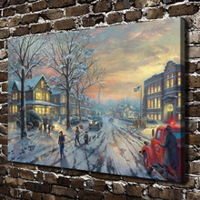 H1124 Thomas Kinkade A Christmas Story, HD Canvas Print Home decoration Living Room Bedroom  Wall pictures Art painting