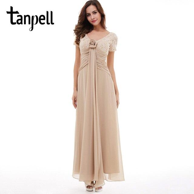 Tanpell Длинные вечернее платье цвета шампанского короткие рукава линии щиколоток Платья с цветочным мотивом Дешевые V шеи Кружева блестками вечернее платье
