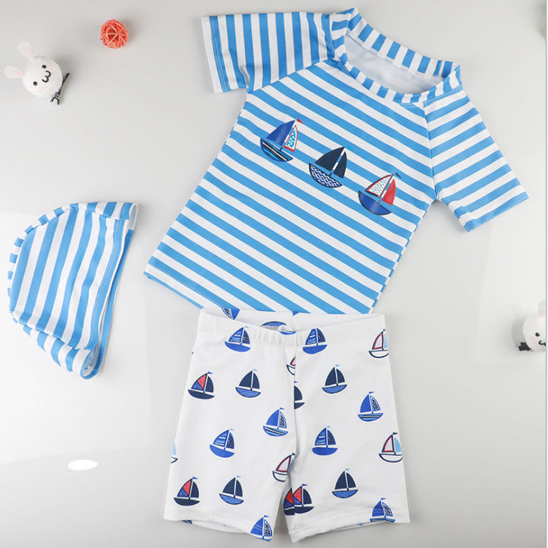 Infant Baby Boys Swimsuit 3pcs Children Swimwear With Hat Shorts 2018 Summer Beach Wear Boys Rush Guards 2T 3 5 6 9 Years