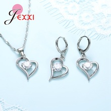 Top Quality 925 Silver Wedding Jewelry Sets Romantic for Women Love Heart Hollow Pendants Necklaces Earrings For Wedding