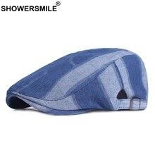 SHOWERSMILE Beret Hats Men Blue 100% Cotton Flat Cap Male Adjustable Duckbill Denim Summer Brand British Driving Gatsby Ivy Caps