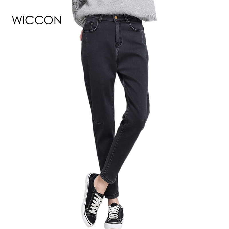 Black   jeans   woman Pants High Waist Denim Trousers Vintage Slim Pencil   Jeans   High Quality For 4 Season Pockets Casual WICCON