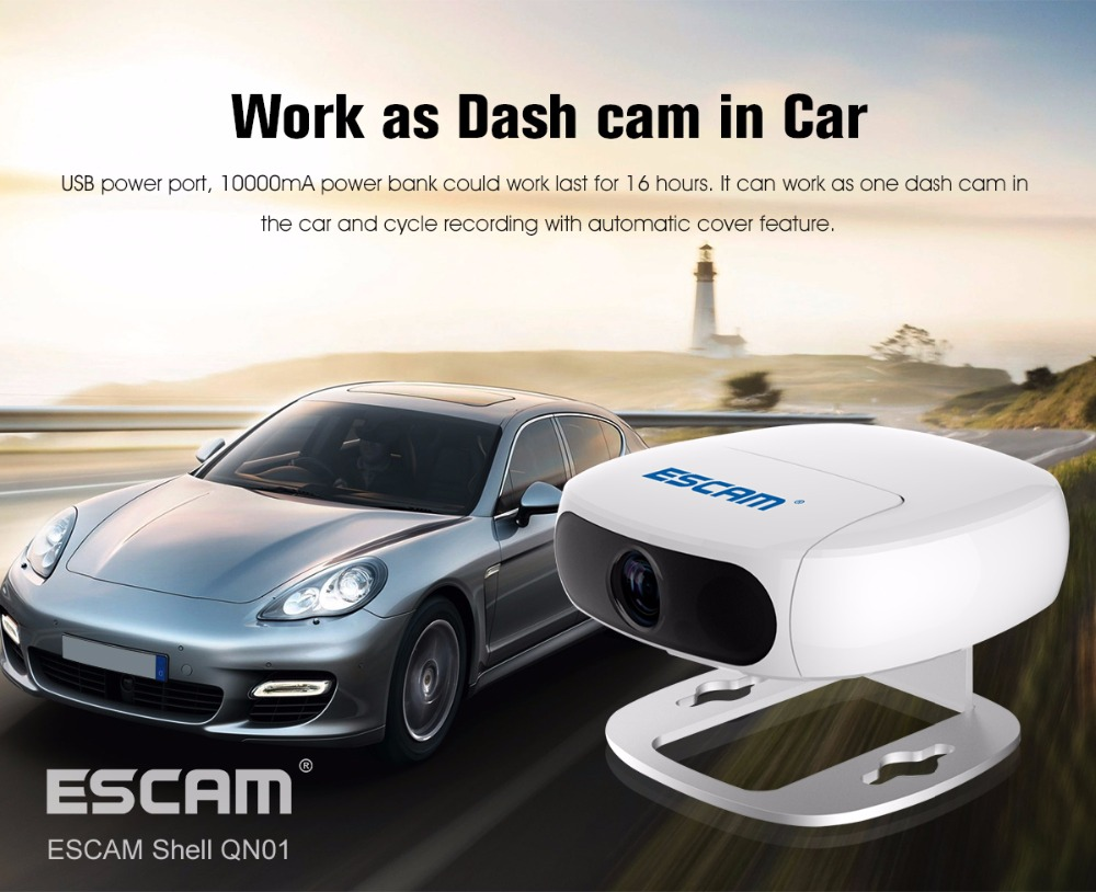 ESCAM Full HD 1080P Rotate Lens Wireless IP Camera Work AS Dash Cam