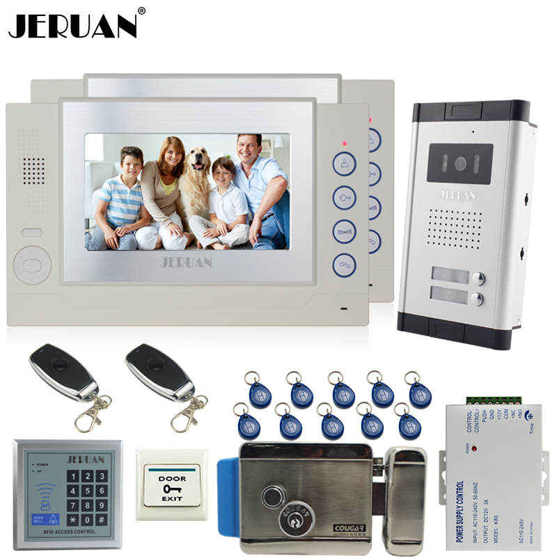 JERUAN Apartment Doorbell 7`` Video Door Phone Record Intercom System kit 2 Monitor HD Camera RFID controller For 2 Household jeruan new apartment 7 inch touch key video intercom door phone system 2 white monitor 1 hd ir camera for 2 household