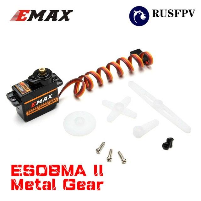 10 piezas EMAX ES08MA II 12g Mini engranaje metálico Servo analógico para piezas de repuesto de Motor RC a prueba de golpes y estable RC Servomotor