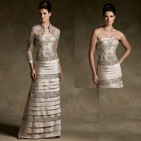 With Quarter 3 4 Sleeve Bolero Vintage Mother Of The Bride Lace Dresses