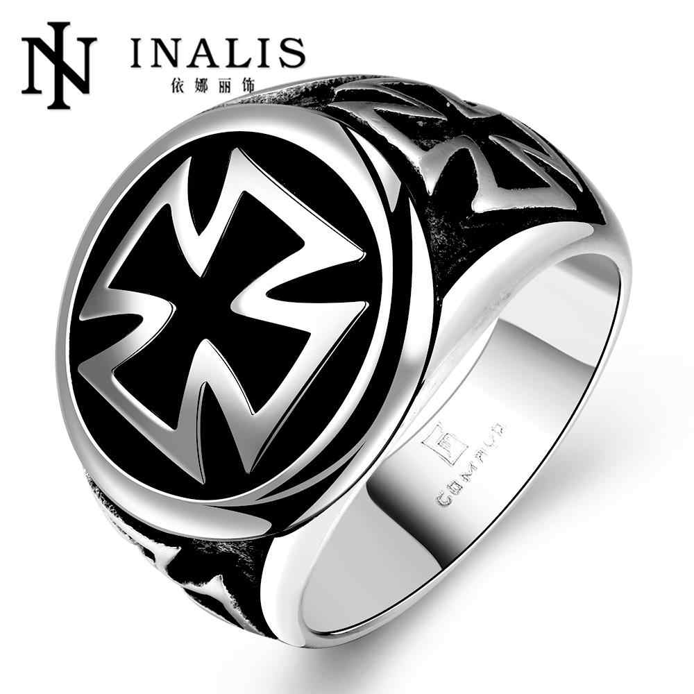 Punk Man Ring Black Titanium Male Ring High Quality Jewelry 316L Titanium Steel Cross Rings For Men Skull Ring