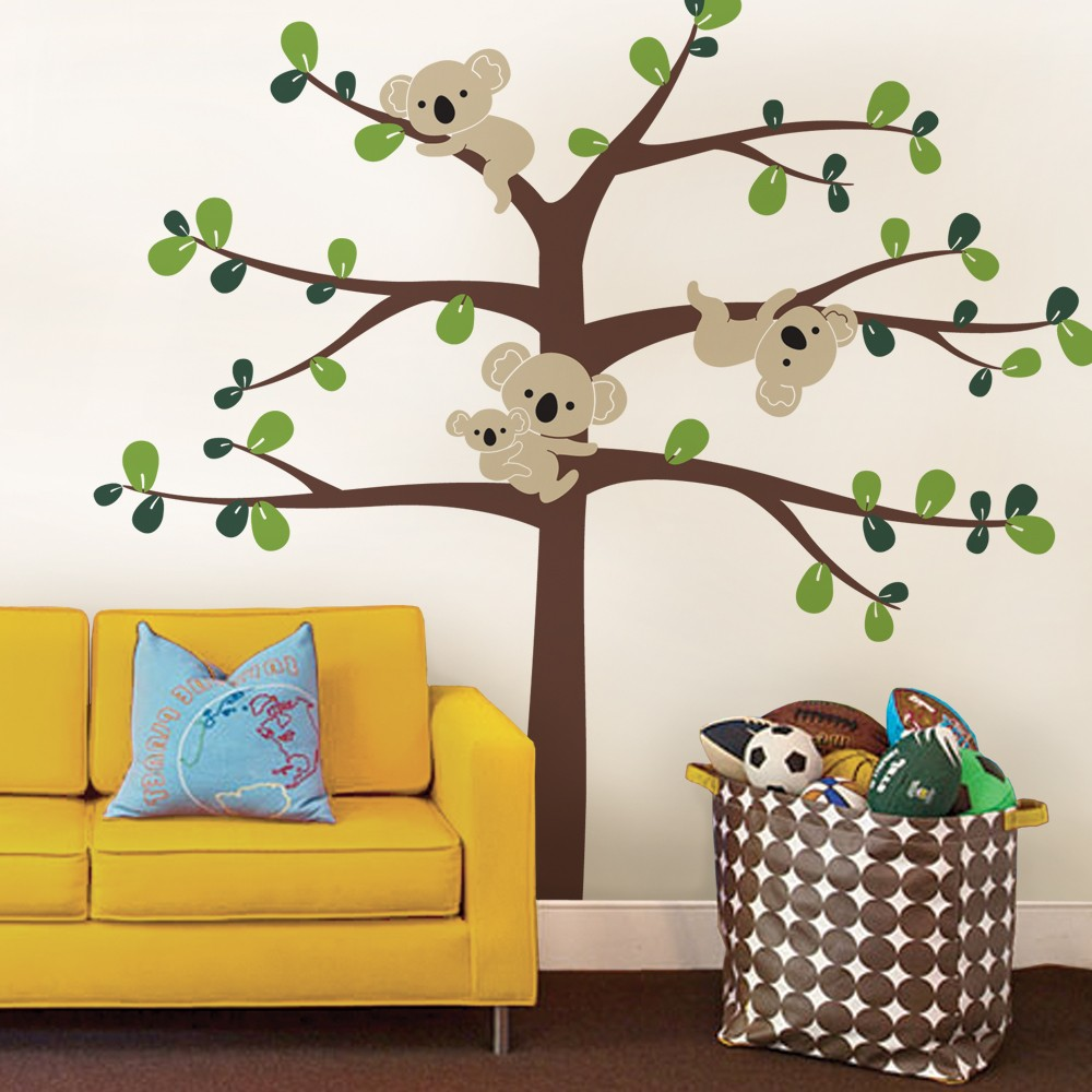 Oversize cute koala tree wall decals for nursery custom color oversize cute koala tree wall decals for nursery custom color australia koslas tree wall stickers for kids room wall tattoo a395 in wall stickers from home amipublicfo Image collections