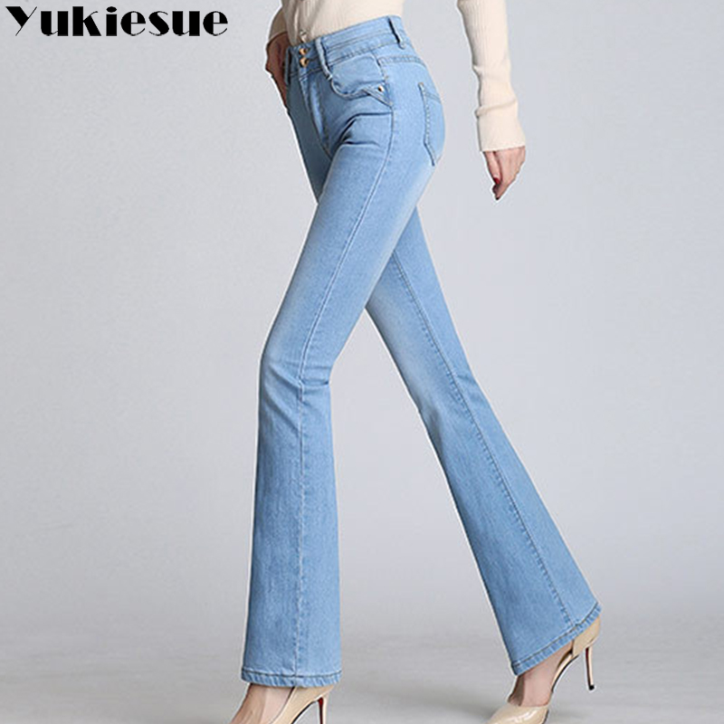 Classic with High Waist Denim   Jeans   for women Vintage Slim Mom Style   Jeans   woman High Quality Denim Pants flare   jeans   femme