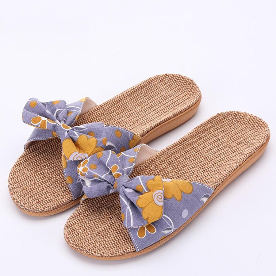 wemen Natural Comfortable Flax Jute Hemp Sandals Slippers US6