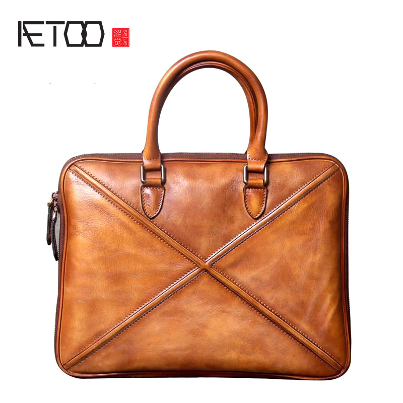 AETOO The first layer of leather handbag Briefcase handmade original leisure business men retro shoulder Messenger bag personali qiaobao 2018 new korean version of the first layer of women s leather packet messenger bag female shoulder diagonal cross bag