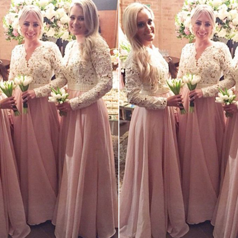 Beautiful Pearls Lace Chiffon Bridesmaid Dresses Pretty Light Pink ...