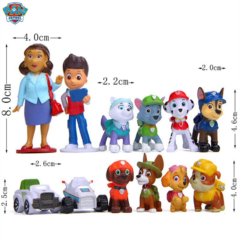Paw Patrol Dog Puppy Patrol Car Patrulla Canina Action Figures Vinyl Doll Toy Kids Children Toys Christmas Gifts 12pcs/set