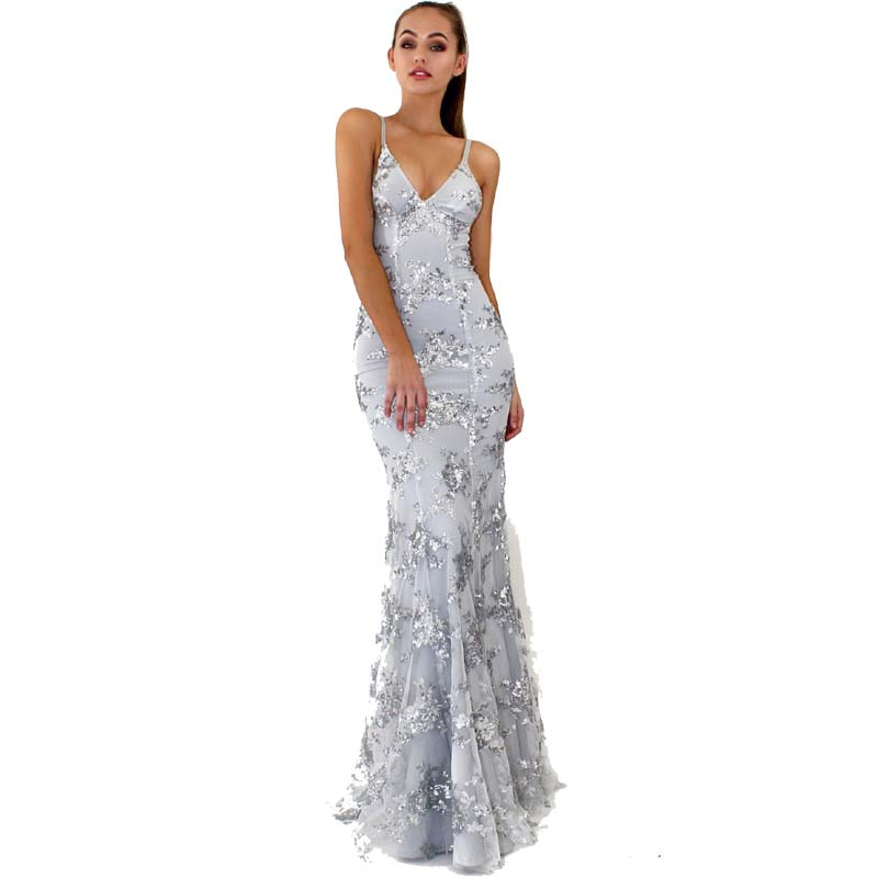 Luoanyfash Evening Party Club Elegant <font><b>Dress</b></font> <font><b>2018</b></font> Women <font><b>Dress</b></font> <font><b>Vestidos</b></font> <font><b>De</b></font> <font><b>Festa</b></font> Womens <font><b>Sexy</b></font> <font><b>Dresses</b></font> Silver Sequined Long Evening image
