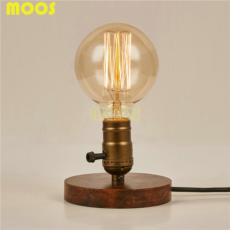 Vintage Edison Bulb Vintage Table Lamp Copper Desk Lamp Wood Base