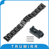 18mm 20mm Full Ceramic Watchband Universal Watch Band Replacement Strap Butterfly Buckle Wrist Bracelet Upgraded Link