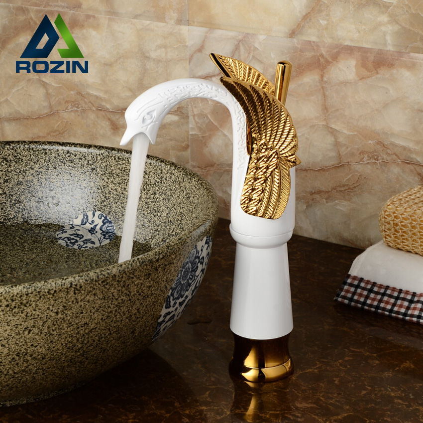 Luxury Golden & White Countertop Basin Faucet Single Handle Swan Bathroom Mixer Water Tap Deck Mount