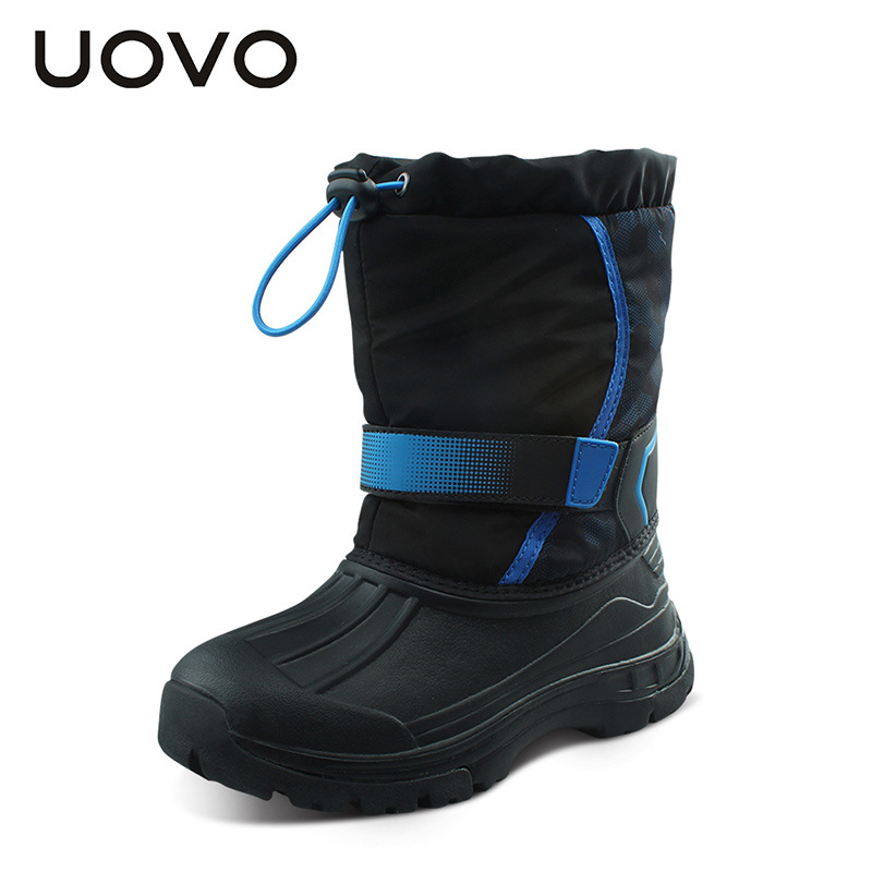 Uovo Brand Kids Snow Boots Unisex Boys Girls Water Repellent Winter Rain Boots Slip Resistant Botas Ninos Black Purple Shoes