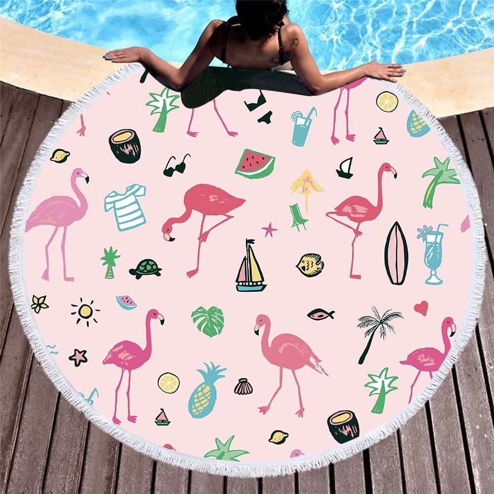 3d Gedrukt Flamingo Microfiber Ronde Strandlaken Voor Volwassenen Zomer Toalla Kwastje Yoga Mat T351 Goederen Van Elke Beschrijving Zijn Beschikbaar