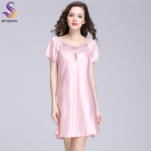 Image 2 - 2020 New Sweet Young Women Silk Nightgown Printed Fashion Knee length Girl Sleepwear Summer Ladies Sleepshirts Pink,Camel,Blue