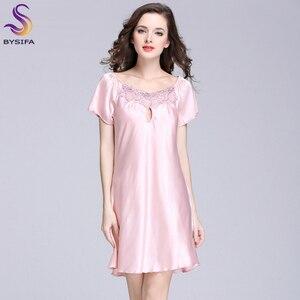 Image 2 - Jolie robe de nuit en soie pour jeunes femmes, vêtements imprimés à la mode, longueur genou, vêtements de nuit pour lété, rose, Camel, bleu, nouvelle collection 2020