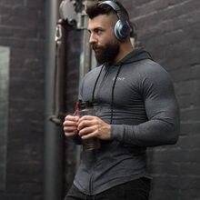 Mężczyźni bawełniane bluzy z kapturem moda w stylu Casual, na zamek błyskawiczny bluza siłownia fitness kulturystyka trening wąska sportowa odzież z kapturem kurtka odzież