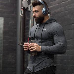 Image 1 - Mannen Katoen Hoodies Fashion Casual Rits Sweatshirt Sportscholen Fitness Bodybuilding Workout Slanke Sportkleding Capuchon Kleding