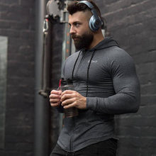 Men cotton Hoodies Fashion Casual Zipper sweatshirt gyms fitness Bodybuilding workout slim sportswear Hooded jacket clothing