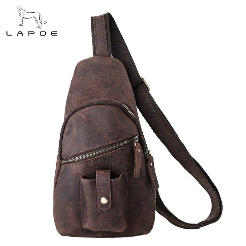 LAPOE Crazy Horse Genuine Leather Men Messenger Bags Cross Body Shoulder Chest Bags Packs Water Shape Crossbody  New 2017