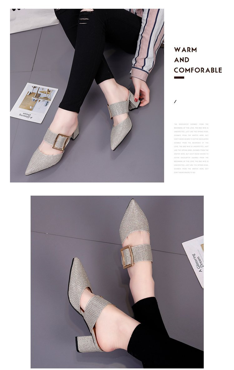 2019spring New Thick with Muller Shoes Women's High Heels Pointed Belt Buckle Back Air Slippers Elegant Temperament Baotou 2