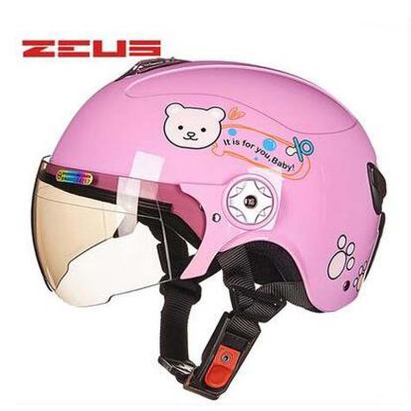 2018 New summer ZEUS cute cartoon Children electric bicycle safety headpiece Half face Kids motorcycle helmets