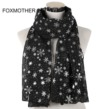 FOXMOTHER New Fashion Lightweight Winter Black Grey Navy Color Snowflake Scarf Hijab Echarp Shawl Wrap Women Scarves Christmas