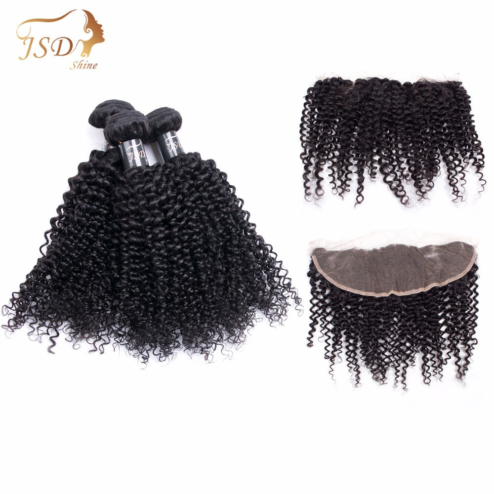 JSDShine Hair 13x4 Lace Frontal Closure With Bundles Brazilian Kinky Curly Human Hair Bundles With Lace Closure Non-Remy