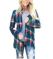 Autumn Winter 2017 New Plaid Print Stitching Blouse Women Tops Blusa Camisa Femininas Warm Cotton Long