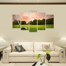 Wall Art Golf Course Sunset Landscape Canvas Print Picture Artwork Paintings for Living Room Decor Sport Poster Drop ship