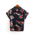 European Style 2016 Summer New Women Vintage Floral Print Short Sleeves Shirts, Female Fashion Elegant Casual Blouse Short Tops