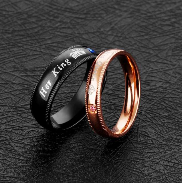 """a set of 2 """"His Queen"""" and """"Her King"""" Couple rings for lovers"""