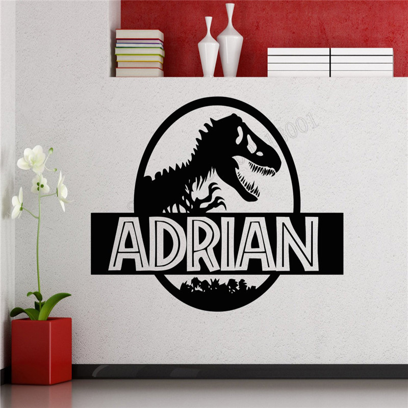 Wall Decoration Dinosaur Custom name Boys Room Sticker Vinyl Removable Poster Design Kids Bedroom Mural Interior