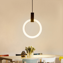Modern Loft LED Pendant Lights Aluminum Ring Lamp Handing Fixtures Restaurant Stairs Light Bar Parlor Villa hanging lamp