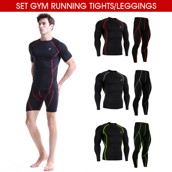 ФОТО All-in-One Compression Base Layer T Shirt Men Long / Short Sleeve Jiu Jitsu Fitness Set Gym Running Tights / Leggings Plus Size