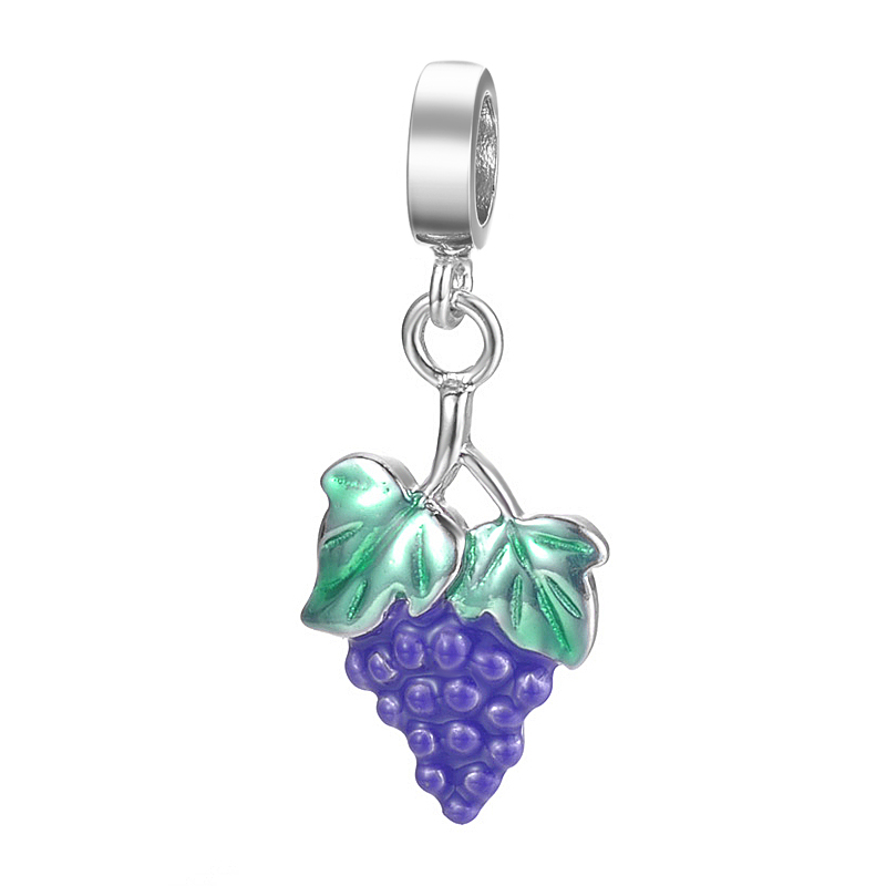 European Style Handmade Fruit Grape Design Pendant Jewelry For Bracelet Or Necklace S925 Sterling Silver Charm