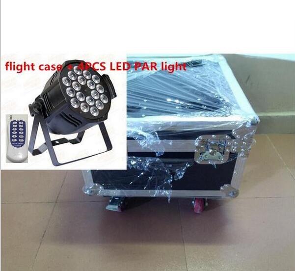 4pcs Wireless remote control 18x12W LED Par Lights with 1 flight case RGBW 4in1 LED Par Can Par64 dj wash lighting stage light 6pcs 24x12w led par lights with 1 flight case rgbw 4in1 led par light dmx 512 control professional stage lighting equipment