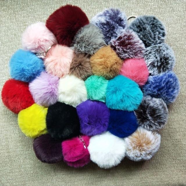 27 Colors 8 cm Big Faux Fur Pompom Keychian Bạc Keyring Dễ Thương xe Túi Quyến Rũ Chính Chuỗi Fluffy Cao Pom Chất Lượng Pom Llaveros